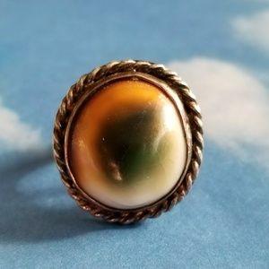 Vintage Operculum shell ring eye silver tone sz 4